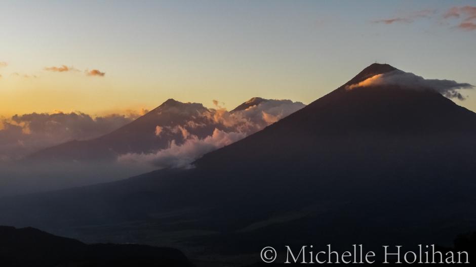 Mountains outside Guatemala City at sunset from Volcano Pacaya
